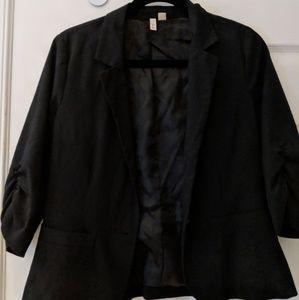 Ruched sleeve black 3/4 sleeve blazer